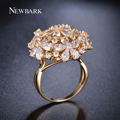 NEWBARK Big Ring Exaggerated Flower Finger Rings Women CZ Created Diamond Jewelry Of Gold Or White Gold Plated Party Gifts