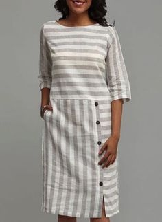 Stripe Buttons Half Sleeve Above Knee Shift Dress # linnen kleding patronen Dress Outfits, Fashion Dresses, Women's Fashion, Fashion Online, Linen Dresses, Sun Dresses, Shift Dresses, Trendy Dresses, Maxi Dresses