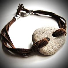 NEW - Beach rock and suede leather bracelet!  $22 from JewelryByMaeBee on Etsy.