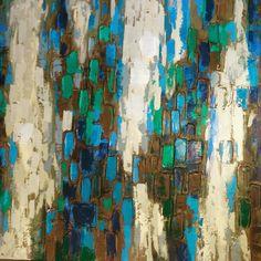 Blues and greens abstract oil painting Closetconnoisseurresale.com #saresale #SanAntonioresale #bestresale #consignment #closetconnoisseur  #closetconnoisseurresale #homedecor #homedecoration #art #furniture #jewelry