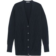 Autumn Cashmere Argyle-knit cotton cardigan (€135) ❤ liked on Polyvore featuring tops, cardigans, midnight blue, autumn cashmere cardigan, loose fit tops, lightweight cardigan, autumn cashmere and cotton knit cardigan