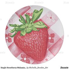 Single Strawberry Melamine Plate