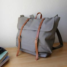 The Rucksack // Backpack in Gray Canvas and Leather by infusion, $185.00
