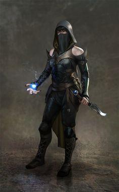 Female Human Dagger Leather Armor Rogue Assassin Arcane Trickster Sorcerer Warlock - Pathfinder PFRPG DND D&D fantasy Dark Fantasy, Fantasy Rpg, Medieval Fantasy, Fantasy Artwork, Fantasy Heroes, Final Fantasy, Character Concept, Character Art, Concept Art