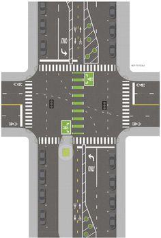 buffered bike lane intersection integration - Google Search
