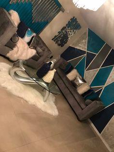 Teal & gray living room - Decoration For Home Living Room Decor Cozy, Home Living Room, Apartment Living, Living Room Designs, Bedroom Decor, Apartment Ideas, Teal Grey Living Room, First Apartment Decorating, Retro Home Decor