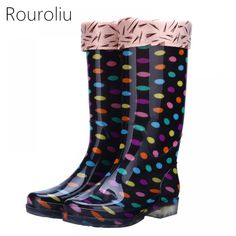 Rouroliu Women Polka Dot Rainboots PVC Waterproof Water Shoes Wellies Non-Slip Warm Knee-High Rain Boots Woman RT346 Price: 43.38 & FREE Shipping #staysafe #practicesafetyguidlines #fashion|#sport|#tech|#lifestyle Water Shoes, Knee High Boots, Rubber Rain Boots, Polka Dots, Warm, Womens Fashion, Stuff To Buy, Free Shipping, Woman