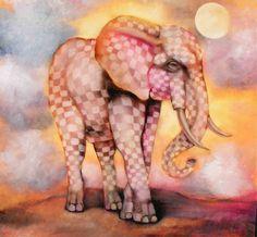 Szigeti Edit  Elefant seta 45x45cm