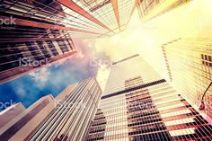 Vintage filtered photo of skyscrapers in Manhattan. royalty-free stock photo
