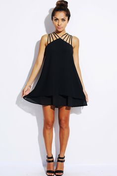 #1015store.com #fashion #style Black strappy tiered chiffon cocktail dress-$30.00