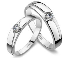 Diamond Wedding Rings for Women and Men Korean Gifts for Couples in Sterling Silver