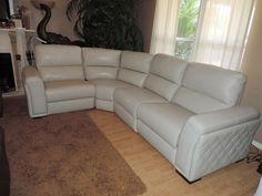 Macy's Jessi Quilted Side Argento Leather Dual Electric Reclining Sectional #Macys #Modern