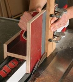Homemade tenoning jig constructed from phenolic-faced plywood, MDF, and toggle clamps.