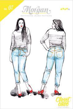 Morgan Boyfriend Jeans pattern // Envelope front // by Closet Case Patterns