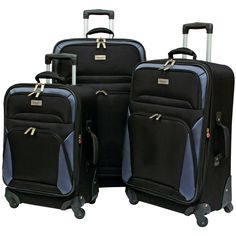 23498c850 Geoffrey Beene Brentwood Collection 3-Piece Spinner Luggage Set (Black w/  gray trim)