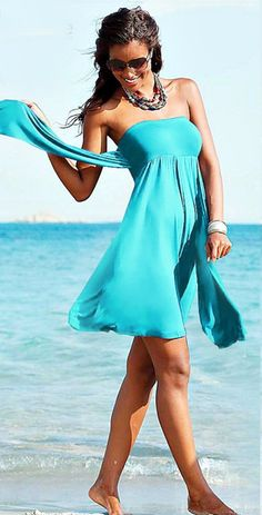 Break out those sandals and prepare for a day of looking gorgeous at the beach! The One More Sunset beach dress will take you from the morning walk on the beach to lunch on the boardwalk. The tie neck