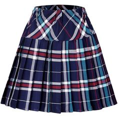 Urban CoCo Women's Elastic Waist Tartan Pleated School Skirt (920 RUB) ❤ liked on Polyvore featuring skirts, tartan pleated skirt, tartan plaid pleated skirt, blue tartan skirt, plaid skirt and knee length pleated skirt
