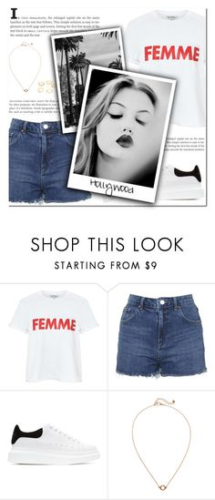 """""""How to Style Dark Blue Denim Cutoffs with a White Graphic Tee, Black and White Sneakers and Gold Jewelry"""" by outfitsfortravel ❤ liked on Polyvore featuring Miss Selfridge, Topshop, Alexander McQueen, Monki, Charlotte Russe and GE"""