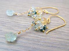 Aquamarine Earrings  Blue Dangle Earrings Lemon by MarpesiaAndCo, $36.00