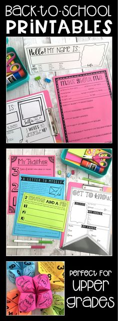 Back to school printables for those first weeks of school. Lots of ideas and activities for students and teachers to get to know each other, learn rules, routines, and procedures, and become acquainted with the classroom. Ideal for students in upper elementary, but may also work great with students in primary grades, as well!!