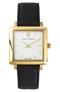 Larsson and Jennings Black Leather and Stainless Steel Norse Square Watch Black And Gold Watch, Dramatic Classic, Larsson & Jennings, Geek Chic, Square Watch, Fashion Watches, Watch Bands, Sexy, Watches For Men