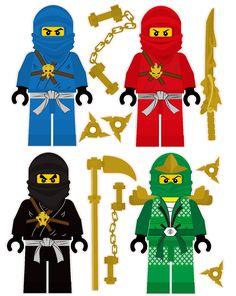 Lego Ninjago 4 Ninjas Removable Wall Stickers Set with free weapons and shuriken throwing stars stickers - Ninjago Geburtstag - Lego Ninjago Cake, Ninjago Party, Ninja Birthday, Lego Birthday Party, Festa Ninja Go, Lego Movie Characters, Deco Lego, Shuriken, Removable Wall Stickers