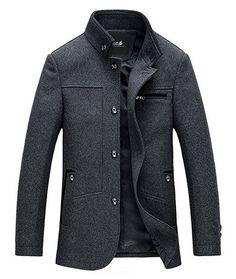 xiaohuoban Mens Stand Collar Thicken Zip Coat Outwear Jacket Long Sleeve Coat