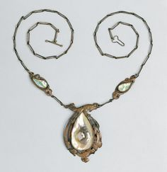 """Grant Wood [the painter of """"American Gothic""""] Necklace, 1915, copper and mother-of-pearl, Cedar Rapid Museum"""