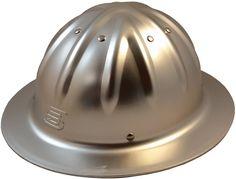 Original SkullBucket Aluminum Hard Hats, Full Brim with Ratchet Suspensions Silver