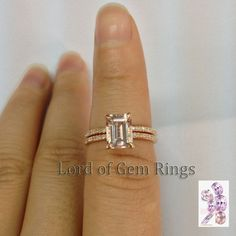 $680 Emerald Cut Morganite Engagement Ring Sets Pave Diamond Wedding 14K Rose Gold  6x8mm