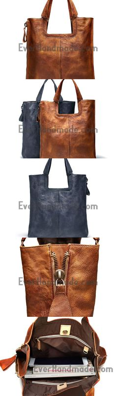 Handmade Leather Handbag Vintage Shoulder Bag Large Tote