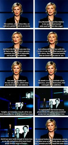 Jane Lynch's speech and tribute to Cory Monteith at the 2013 Emmy Awards Lea And Cory, Jane Lynch, Finn Hudson, Glee Club, Celebrity Travel, Celebrity Moms, Cory Monteith, Travel Humor, Chris Colfer