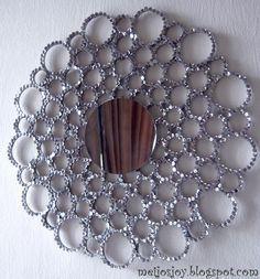 15 Unique DIY Mirror Ideas (With Tutorials) : Sequin TB roll sunburst mirror Home Crafts, Easy Crafts, Diy Home Decor, Diy And Crafts, Easy Diy, Toilet Paper Roll Art, Rolled Paper Art, Mirror Crafts, Diy Mirror
