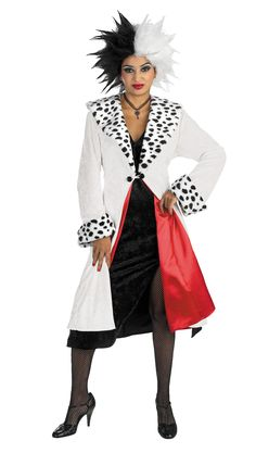An Alluring Disney Cruella De Vil Prestige Adult Costume. Pleasing collection of Disney Costumes for Halloween at PartyBell. Halloween Costumes Accessories, Costumes Halloween Disney, Diy Baby Costumes, Disney Characters Costumes, Character Costumes, Adult Costumes, Costumes For Women, Costume Ideas, Couple Costumes