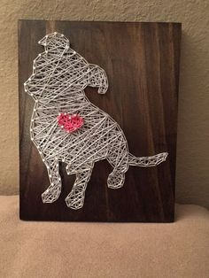 MADE TO ORDER Pitbull String Art Wooden Board by StringSimply. Great for any dog lover!! #DogLover