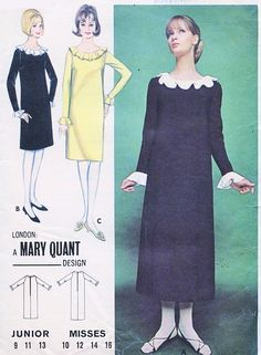 b20bad155685c 1960s MOD MARY QUANT Dress Pattern BUTTERICK 3287 Quick n Easy Regular or  Midi Length SHIFT