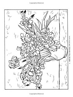 VAN GOGH SUNFLOERS colouring pages Adult ColouringFlowers