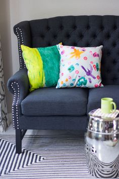 DIY Throw Pillows made from your children's artwork