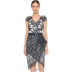 Marchesa Notte Cap Sleeve Lace Cocktail Dress ($795) ❤ liked on Polyvore featuring dresses, navy, navy lace cocktail dress, scalloped lace dress, v neck cocktail dress, navy leather belt and navy dress
