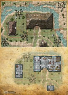 Cottage by the river  D&D map