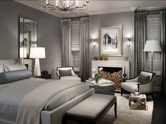 Neutral Shade from the Black and White Master Bedroom with chandelier