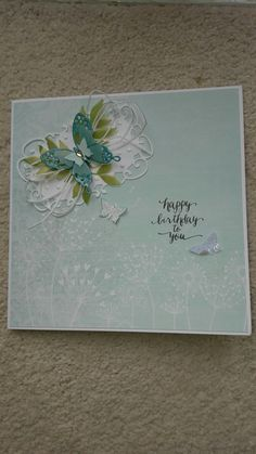 Pretty Butterfly birthday card using CWC Serenity Papers