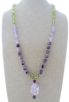 Amethyst necklace, rustic necklace, raw stone necklace, purple beaded necklace, green quartz necklace, long necklace, gemstone jewelry, gift by Sofiasbijoux on Etsy