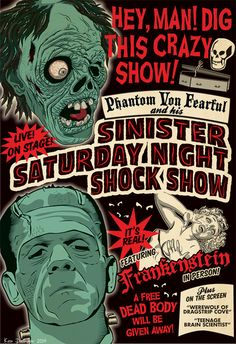 Sinister Saturday Night Shock Show Halloween Horror, Halloween Art, Vintage Halloween, Retro Horror, Vintage Horror, Arte Horror, Horror Art, Vintage Movies, Vintage Posters