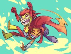 Having fun with Kid Flash.