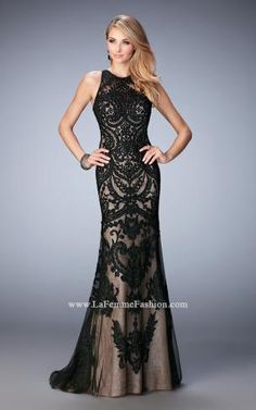 0c41be42362 Embroidered Open Back Gown by Gigi by La Femme 22837