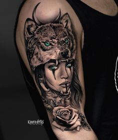 Wolf Girl Tattoos, Indian Girl Tattoos, Wolf Tattoos For Women, Sleeve Tattoos For Women, Tattoos Of Wolves, Hand Tattoos For Girls, Wolf Tattoo Design, Tattoo Design Drawings, Tattoo Designs