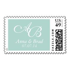 Double Monogram Wedding Save the Date Mint Green Stamp