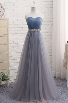 Sweetheart Tulle Beading Prom Dress, Long Prom Dress,