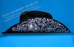 Just Charmin' Designs - Rhinestone Cross Black Felt Cowboy Hat Custom Cowboy Hats, Felt Cowboy Hats, Cowgirl Hats, Western Hats, Cowgirl Bling, Custom Hats, Black Cowgirl, Cowboy And Cowgirl, Cowgirl Style